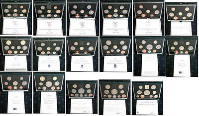 Birthday gift present Royal Mint UK proof coin sets 1983 - 1999; free UK postage