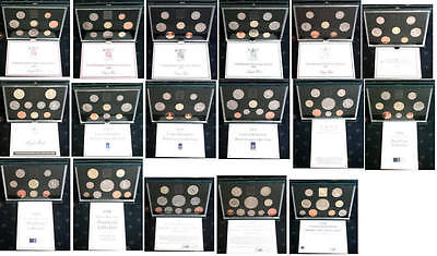 Royal Mint proof sets blue 1983 TO 1999 Birthday Present coin year sets; FREE pp