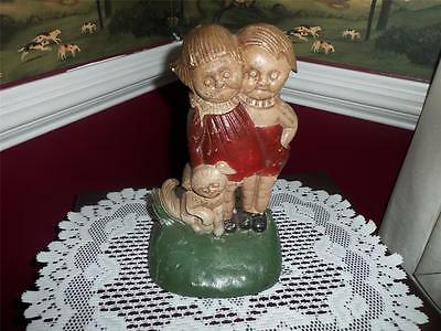 cast iron DOOR STOP GIRL & BOY W/ DOG  RARE FIND HEAVY VNTG.