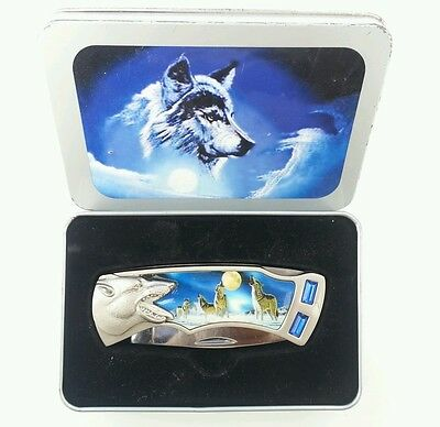 Beautiful Knife With Wolf Handle and Blue Stones