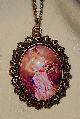 Lovely Rose Rimmed Brasstone Pink Lady with Flower Basket Cameo Pendant Necklace