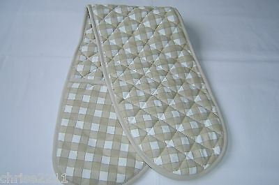 Double Oven Gloves.  Biscuit and White Check