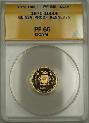 1970 Proof Guinea Kennedy's JFK/RFK 1000F Francs Gold Coin ANACS PF-65 DCAM