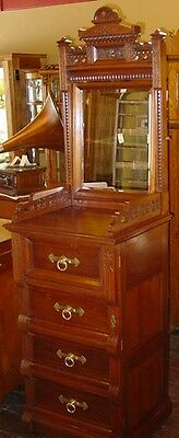 Walnut Victorian carved lingerie chest lockside--fancy---14780