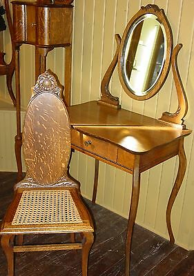Quartered quarter sawn oak ladies vanity and caned chair-----14965