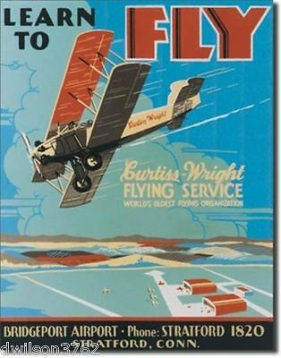 Learn To Fly Vintage Poster Picture Tin Ad Sign Airplane Plane Flight School