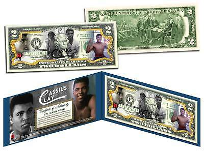 Muhammad Ali CASSIUS CLAY Colorized $2 Bill US Legal Tender OFFICIALLY LICENSED