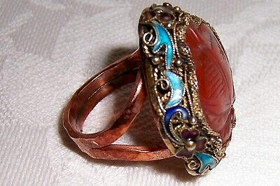 vntg CARNELIAN ring CHINESE ENAMEL FILIGREE jewelry