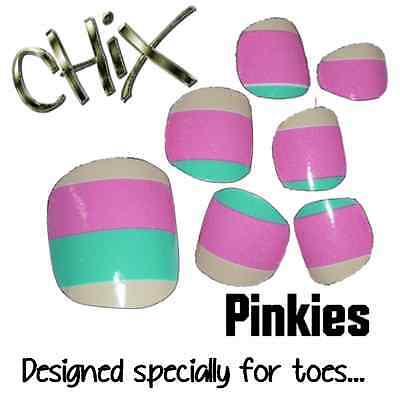 CHIX Nail Wraps PINKIES Pastel Mint Green Pink Stripe JUST 4 TOES Foils Nails