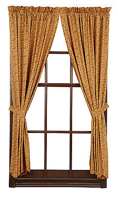 New Primitive Country Lewiston Tan Red Ditsy Floral Print Window Curtain Panels