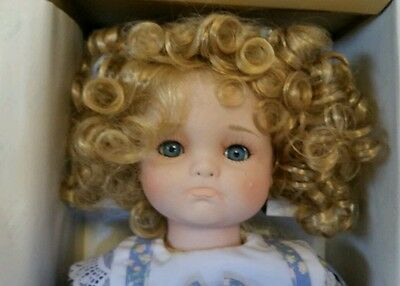 "Porcelain Doll Seymour Mann Kendall 18"" Pouting Teary Eyed Toddler Shirly Curls"