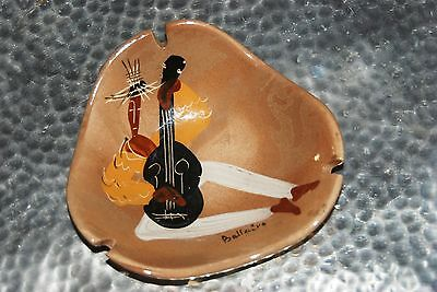 Marc Bellaire Signed '45 Mid- Century Hand Painted Ash Tray With Guitar Player