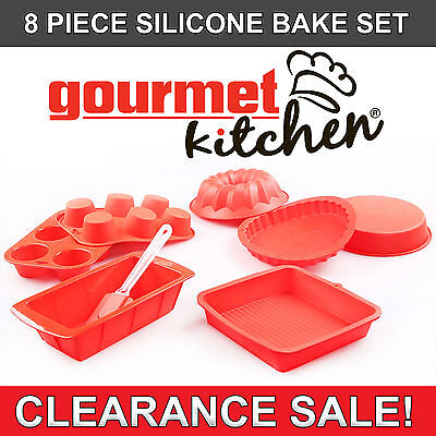 8 PC Silicone Cake Moulds/Non Stick Baking Tray/Pans/Spatula Kitchen Home Bake