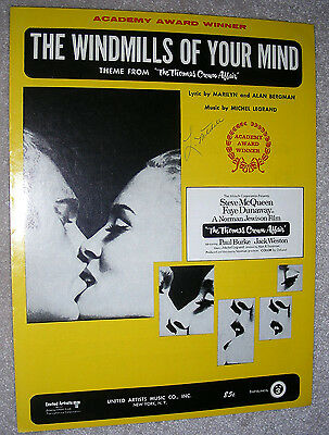 1968 THE WINDMILLS OF YOUR MIND Sheet Music THEME from THOMAS CROWN AFFAIR