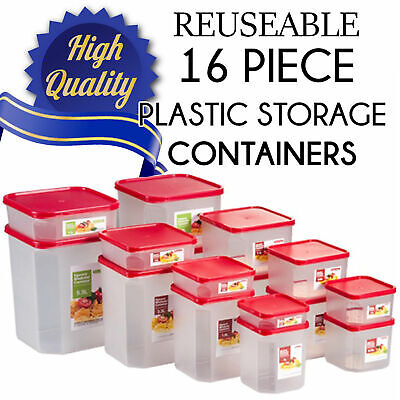 Plastic Containers Reuseable 16 Piece Square Modular Food Container Set