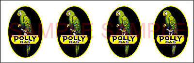 1.25 Inch Polly Gas Gasoline Decal Sticker 4 Decals