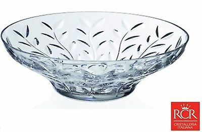 RCR Crystal Laurus 30cm Bowl Large Lead Italian Crystal Fruit Centerpiece Bowl