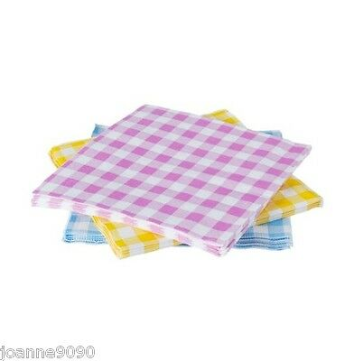 Gisela Graham Pastel Gingham Check Easter Party Paper Napkins Table Serviettes