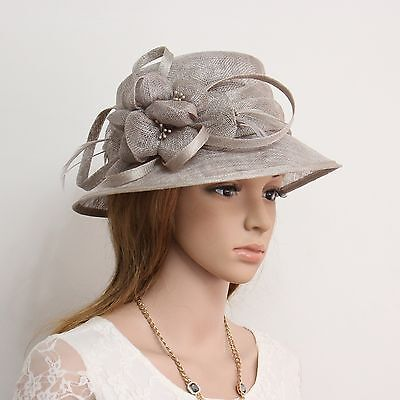 New Woman Church Derby Wedding Cocktail Party Sinamay Dress Hat C45 Gray