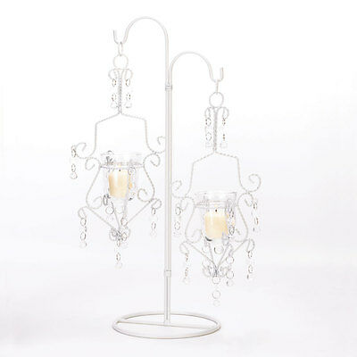 NEW White Crystal Drop Candle Holder Stand Iron & Glass Centerpiece