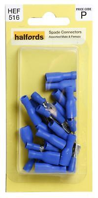 Halfords HEF516 Assorted Spade Connectors 20 Pieces 2 5 15 30 Amp Male Female