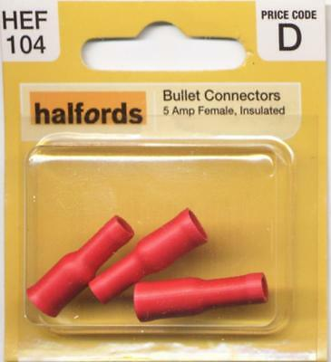 Halfords HEF104 Bullet Connectors Pack 3 Pieces 5 Amp Female Insulated Wiring