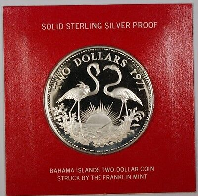 1971 Bahamas $2 Sterling Silver Proof Flamingo Coin with Box and COA