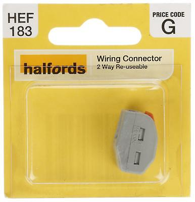 Halfords HEF183 Wiring Connector 2 Way Reusable Electrical Terminal Component