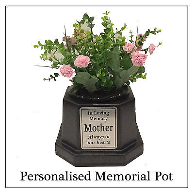Memorial Photo Plaque Vase Black Personalised Grave Stone Flower
