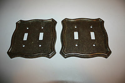 2 Vintage Matching Brass Double Switch  Covers Wow !!!