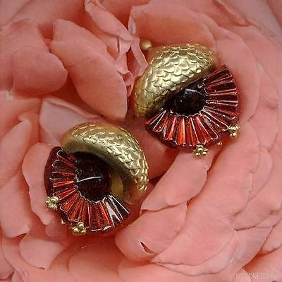 Vintage ART DECO JEWELED Ruby ACORN CHARMS PENDANTS SWIRLED Pleated JEWELRY