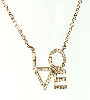 14k Rose or Yellow Gold LOVE Diamond Necklace ( Dia. 0.17cts )