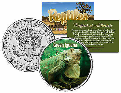 GREEN IGUANA *Collectible Reptiles* JFK Half Dollar US Colorized Coin LIZARD Pet