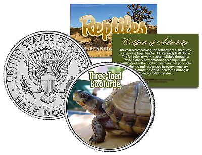 THREE-TOED BOX TURTLE * Collectible Reptiles * JFK Half Dollar US Colorized Coin