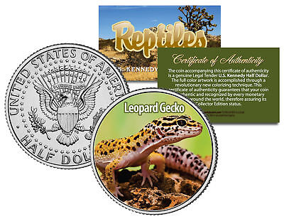 LEOPARD GECKO Collectible Reptiles JFK Half Dollar US Colorized Coin PET LIZARD
