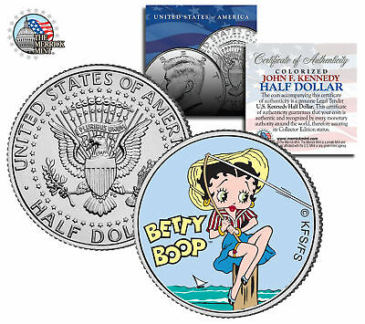 """Betty Boop """"Fishing"""" JFK  Kennedy Half Dollar US Coin *Officially Licensed*"""