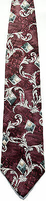 Men's New Neck Tie, Purple with gray white leaf and diamond pattern by Stafford