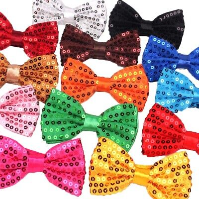 Glitter Sequin Clip-on Bowtie Men's Women Boys Girls Bow Tie Party Dance Costume