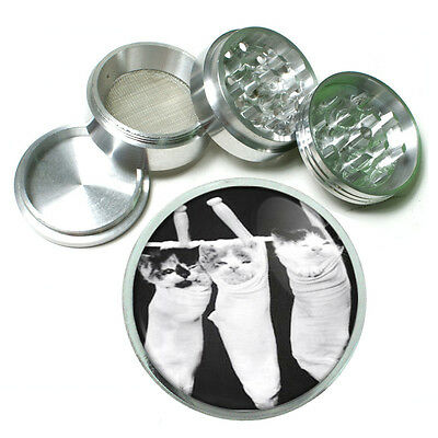 Kittens In Stocking Cute Cats Metal Silver Aluminum Grinder D157 63mm Herb Spice