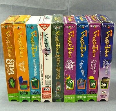 Veggie Tales Lot of 9 VHS Videos Christian Collection Lord of the Beans  Esther