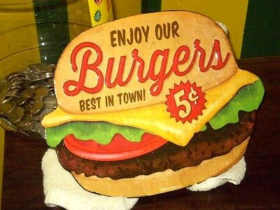 Enjoy Our BURGERS Best In Town 5 Cents Embossed Metal Sign diner Dairy Dip coke
