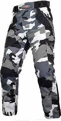 Motorcycle Waterproof Camo Trousers CE Armoured Black Motorbike Textile Pants