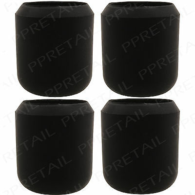 """4 x THICK BLACK RUBBER WALKING STICK CAPS 1"""" HIGH QUALITY Large Grip Ends 25mm"""