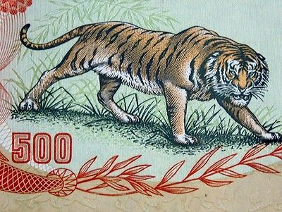 VIETNAM WAR MONEY 1972 VIETNAM 500 DONG TIGER BANKNOTE Authentic Uncirculated