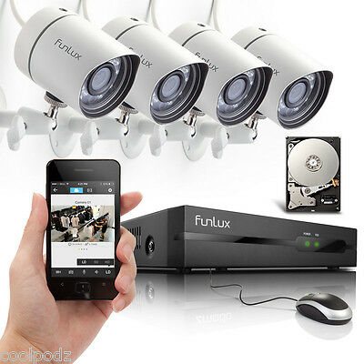 Funlux® 4Channel 720P HD Outdoor Security Camera PoE NVR System 500GB Push Alert
