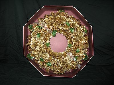 """NIB Vintage Gold 17"""" Pine Cone Christmas Wreath --- Glittering and Golden!!"""