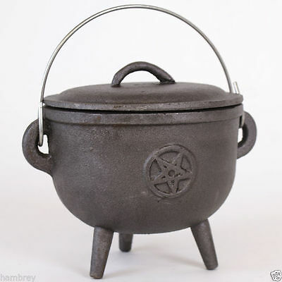 Cast Iron Pentagram Cauldron Pagan Wicca Charcoal Resin Burner Incense Spells