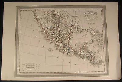 Texas American Southwest New California rare 1834 Vivien old color antique map