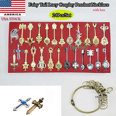 24pc/set Anime Fairy Tail Lucy Cosplay Keys Necklace Pendant Keychain Alloy Gift