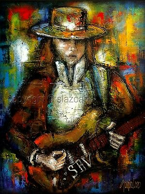 "Custom ART - Stevie Ray Vaughan Painting by SLAZO – MADE TO ORDER - 48"" x 60"""